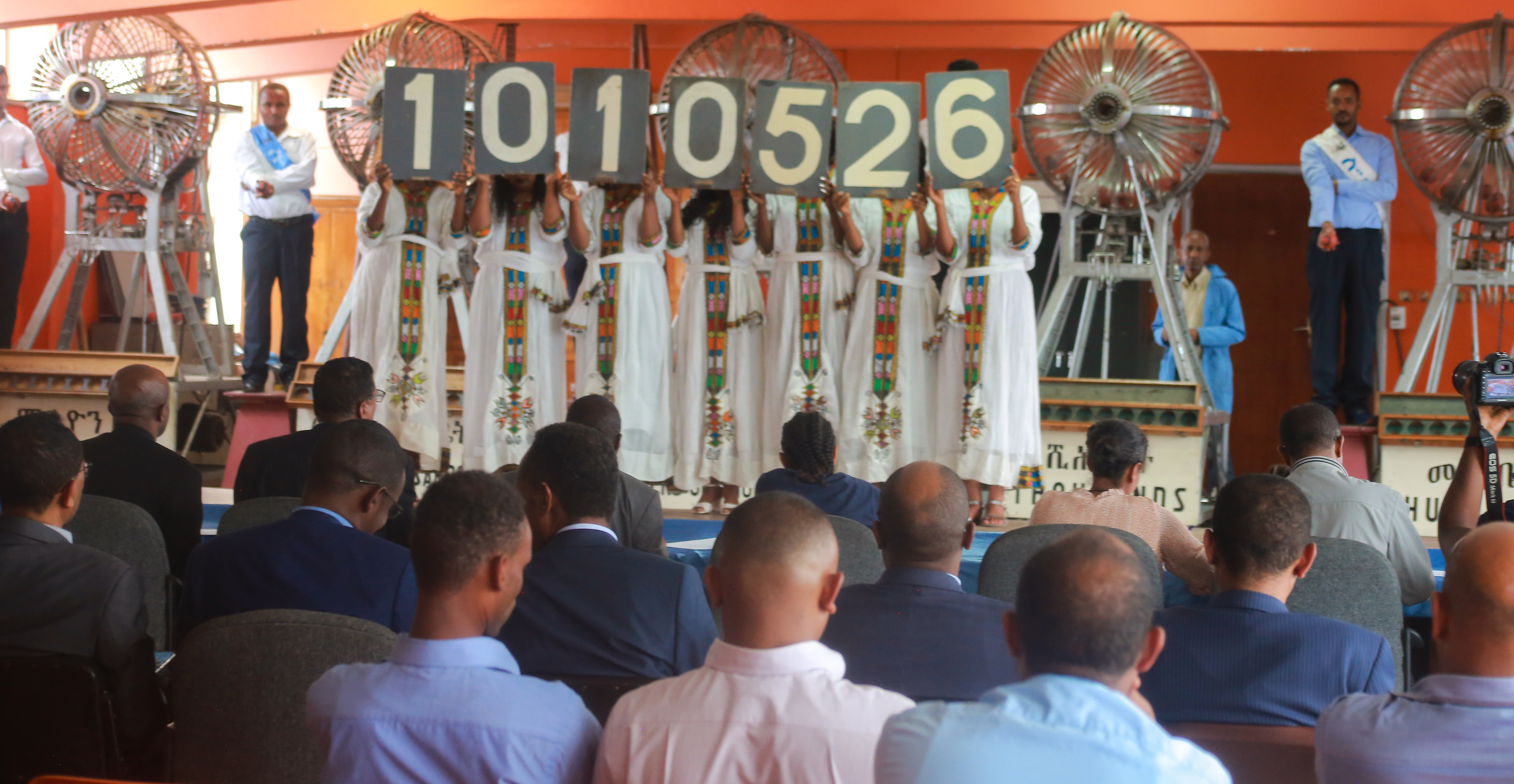 Partial view of the lottery drawing ceremony